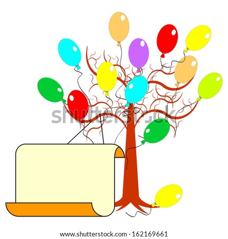 A tree with many colorful balloons and a big blank paper for congratulations. Vector-art illustration - stock vector