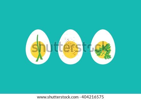 A trio of hard boiled egg horderves, with chives, paprika and parsley. EPS10 vector format. - stock vector