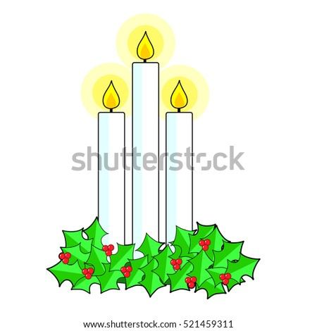 A trio of lit white candlles sitting in a bed of holly and berries