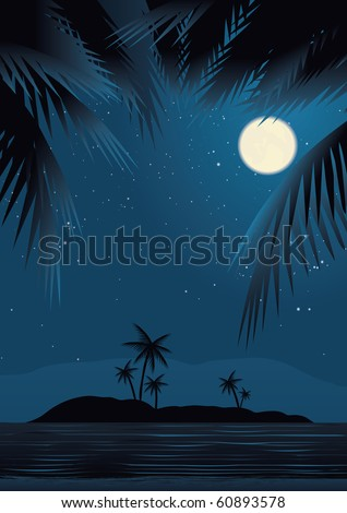 A tropical beach at night under starry sky, framed by palm trees. - stock vector