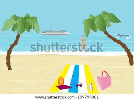 A Tropical Beach with Palm Trees Dolphins Woman in Bikini and Cruise Liner