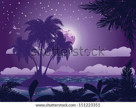 A tropical island at night under starry sky background. - stock vector