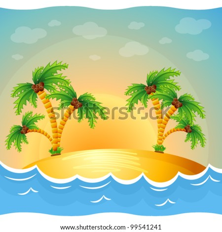 A tropical island in the ocean with palm trees