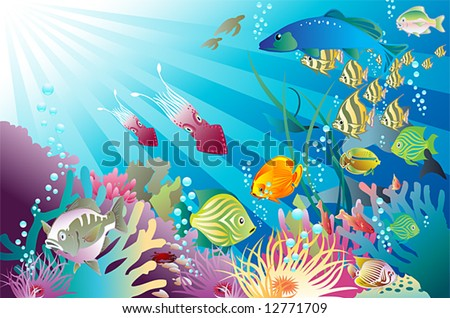 a tropical reef and its inhabitants: you might also like my new mermaid vector : #29498863