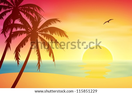A Tropical Sunset, Sunrise with Palm Trees - stock vector