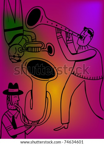 A trumpet clarinet and horn male jazz band - stock vector