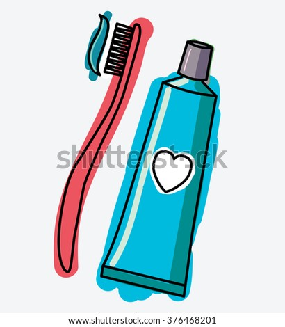 A tube of toothpaste and a toothbrush with toothpaste squeezed out at her. Personal hygiene items. Vector. Stock illustration - stock vector