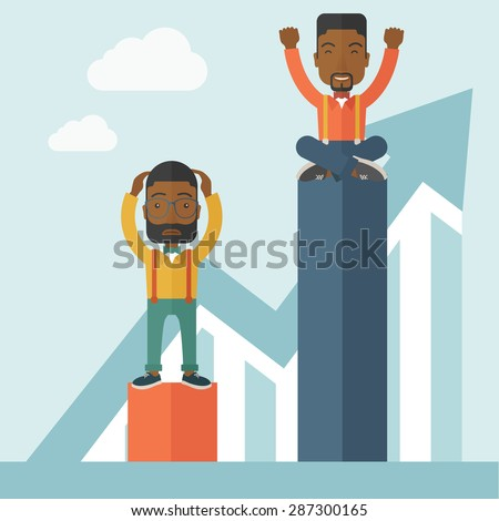 A two african-american businessmen. Man on top is happy while sitting and man in bottom is sad while standing. Rivalry concept. A contemporary style with pastel palette soft blue tinted background - stock vector