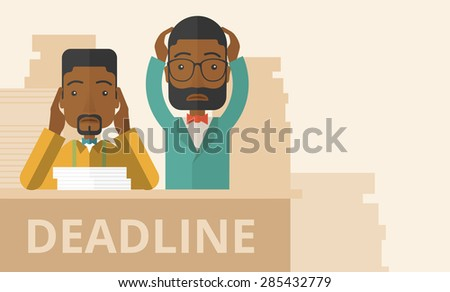 A two african-american empoloyees is burnout  having a problem meeting the deadline, so many paper works to attend to. A Contemporary style with pastel palette, soft beige tinted background. Vector - stock vector