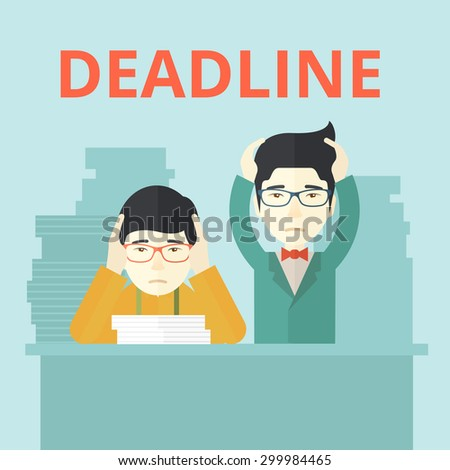 A two aisan employees is burnout  having a problem meeting the deadline, so many paper works to attend to. A Contemporary style with pastel palette, soft blue tinted background. Vector flat design - stock vector