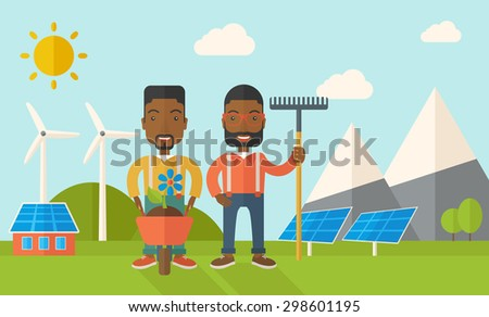 A two black smiling gardener carries a plant in wheelbarrow and holding a rake. A Contemporary style with pastel palette, soft blue tinted background with desaturated clouds. Vector flat design - stock vector