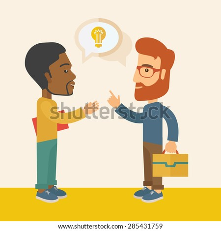 A two businessmen black and white american exchanging ideas of what project they want to put up. Business plan concept. A Contemporary style with pastel palette, soft beige tinted background. Vector - stock vector