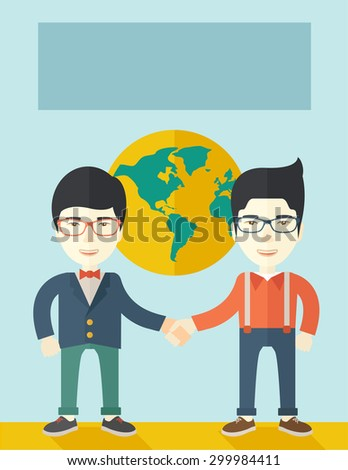 A two chinese men happily handshaking with their International or global world corporation business. Partnership concept. A Contemporary style with pastel palette, soft blue tinted background. Vector - stock vector