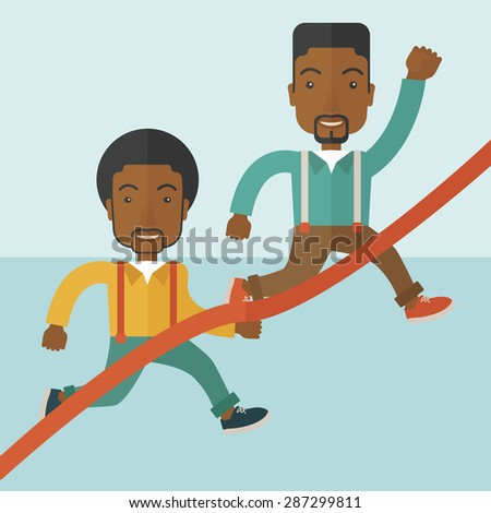 A two happy african guy running to the finish line for meeting the deadline. Winner, victory concept. A contemporary style with pastel palette soft blue tinted background. Vector flat design - stock vector