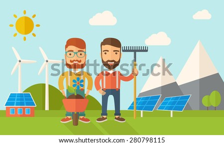 A two smiling gardener carries a plant in wheelbarrow and holding a rake. A Contemporary style with pastel palette, soft blue tinted background with desaturated clouds. Vector flat design illustration - stock vector