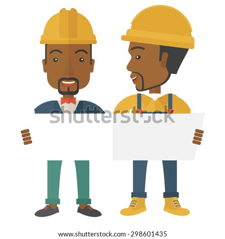 A two young black architects wearing protection helmets looing at blueprint.  A Contemporary style. Vector flat design illustration isolated white background. Square layout. - stock vector