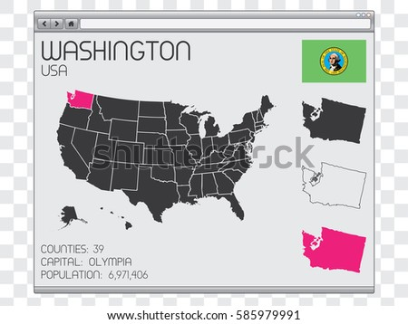 A United States of America Illustration with the Selected State of Washington