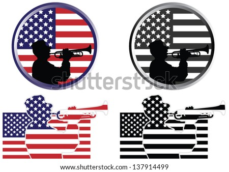 A US Military Soldier in Silhouette Play Trumpet in Front of an American Flag Background - stock vector