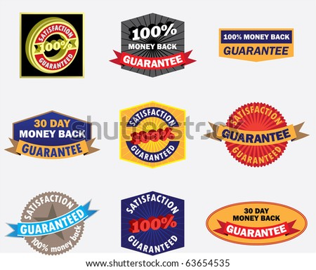 A variety of different guarantee badges / marks. You can mix and match the words on them, or add your own with Illustrator's type on a path tool. - stock vector
