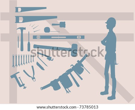A variety of different tools. - stock vector