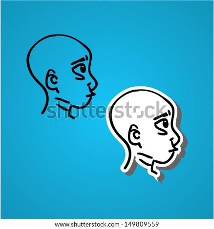 A variety of hand-drawn male faces -  - stock vector