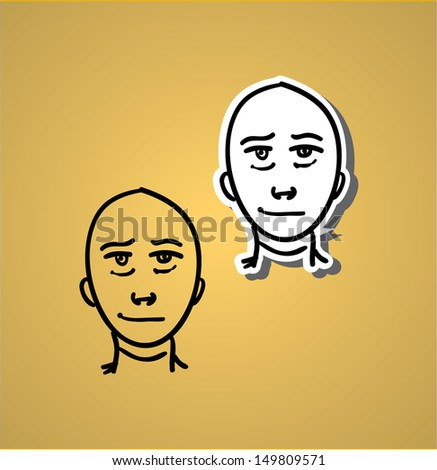 A variety of hand-drawn male faces - glad - stock vector