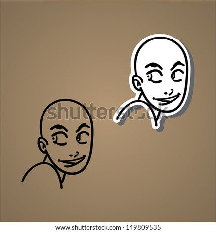 A variety of hand-drawn male faces - mischevous - stock vector