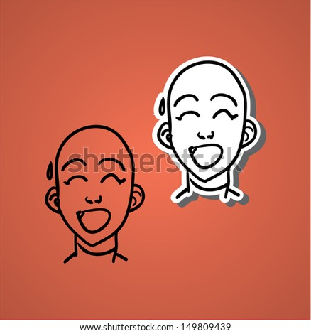 A variety of hand-drawn male faces - nervous - stock vector
