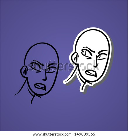 A variety of hand-drawn male faces - what is this? - stock vector