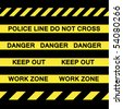 A variety of yellow caution tapes in vector format for construction and crime scene investigation concepts. - stock photo