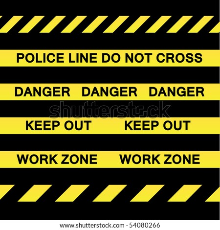 A variety of yellow caution tapes in vector format for construction and crime scene investigation concepts. - stock vector