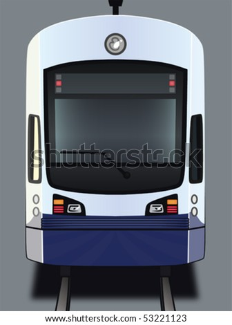 a vector art illustration of the front of a light rail train car - stock vector
