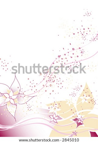 a vector background with red, white and yellow flowers with space for text - stock vector