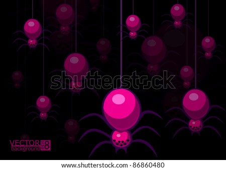 A vector background with spiders. In format eps 8. - stock vector
