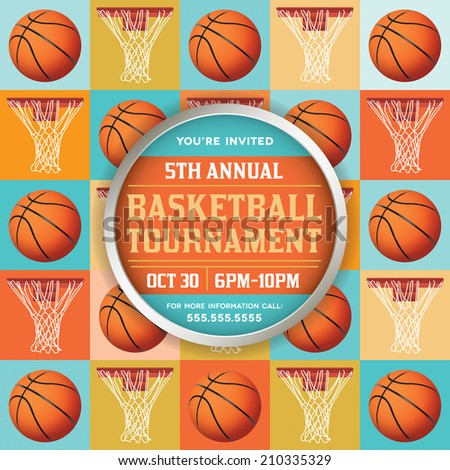 A vector basketball tournament flyer or poster perfect for basketball announcements, games, tournaments, camps, and more. Vector EPS 10. EPS contains transparencies. - stock vector
