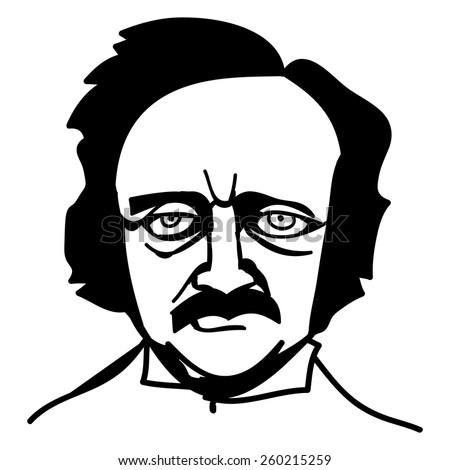 A vector, black and white illustration of Edgar Allan Poe - stock vector