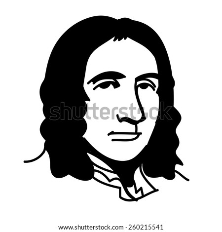 A vector, black and white illustration of Edmond Halley