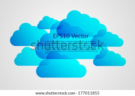 a vector blue clouds on grey