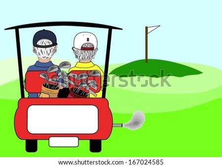 A vector cartoon of a couple riding in a golf cart on a golf course. - stock vector