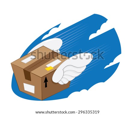 a vector cartoon representing a funny bird-winged package landing, fast and express delivery concept. - stock vector