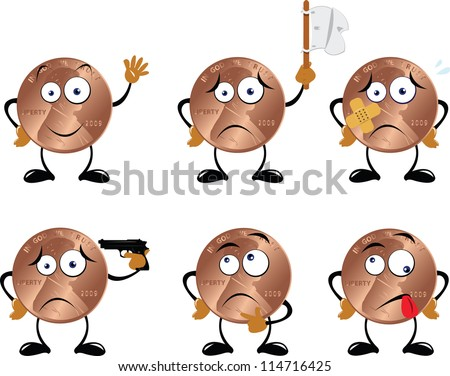 A vector cartoon representing a funny dollar cent in different poses - stock vector