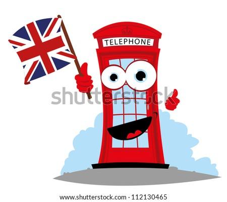 a vector cartoon representing a funny English Telephone, holding an English flag - stock vector