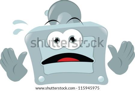 a vector cartoon representing a funny gps before a car accident - stock vector