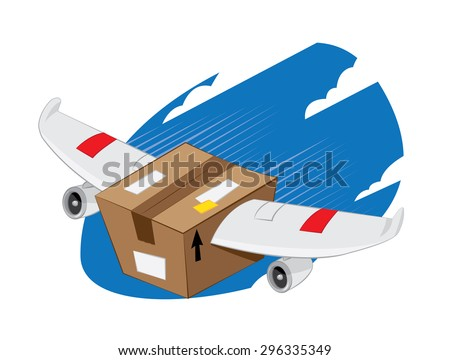 a vector cartoon representing a funny plane-winged package landing, fast and express delivery concept. - stock vector