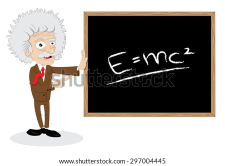 a vector cartoon representing a funny professor showing a blackboard with a formula - stock vector