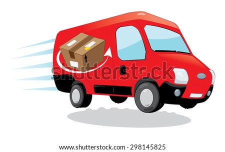 a vector cartoon representing a funny red courier van running and delivering some packages- fast shipping concept - stock vector