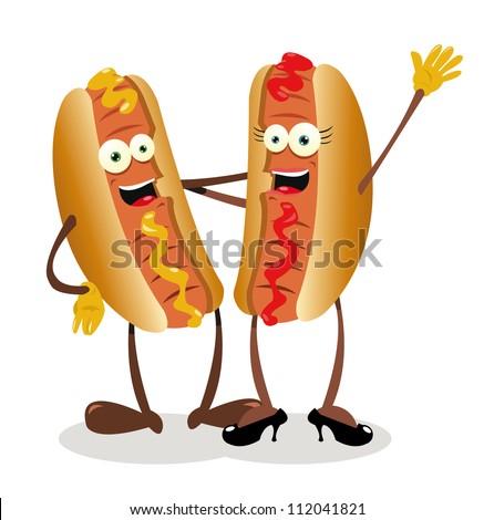 a vector cartoon representing a hot...dog couple - stock vector