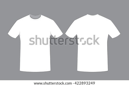 a vector cartoon representing a white cotton man t-shirt template on grey background, Front and back sides. Copy space. - stock vector