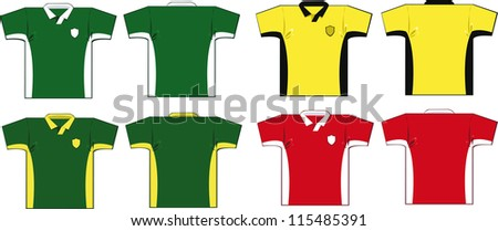 a vector cartoon representing some soccer shirts in different colours - stock vector