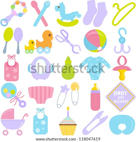 A vector collection of Accessories for Mom and Baby in Pastel - stock vector